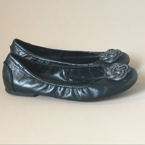 Black Leather Flats Size 10 M